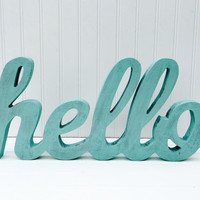 Hello Sign - Hello Wall Decor - Wooden Sign - Entry Way Decor - Living Room Wall Decor - Gallery Wall Decor