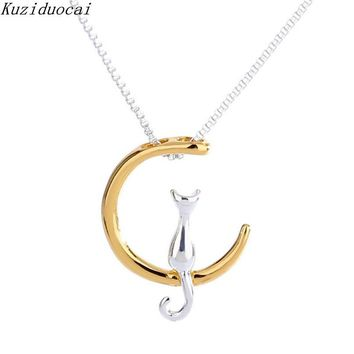 Silver/Gold or Silver Tone Crescent Moon Cat Concise Pendant Necklace