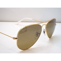Authentic Ray-Ban RB 3025 001/3K Gold Brown Silver Small Aviator Sunglasses $220
