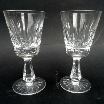 Vintage Waterford crystal - pair of Irish Waterford crystal wine glasses - hand cut Irish lead glass crystal dinnerware stemware fine