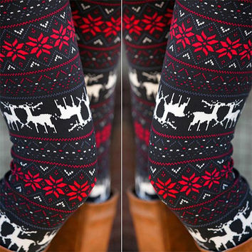 Stylish Deers Printed Stretched Legging