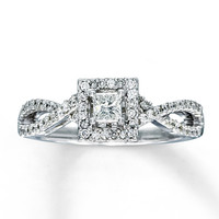 Diamond Engagement Ring 1/2 ct tw Princess-cut 14K White Gold