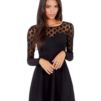 Sheer Mesh Polka Dot Long Sleeves Cutout Back Ruffle Mini  Dress