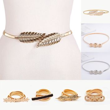 Flower leaf shape Wedding designer Elastic belts women girl Stretch Skinny Waist Belt Cummerbunds metal female belt