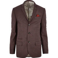 River Island MensDark red skinny suit jacket