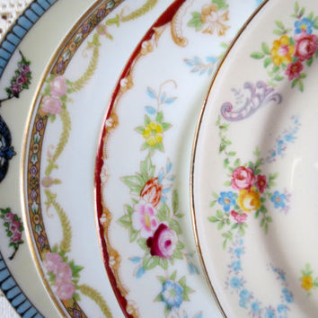 Set of 4 Mismatched Floral China Small Dessert Plates. B&B Plates. Tea Party, Bridal Shower. Plate Collage, Alice in Wonderland. Shabby Chic