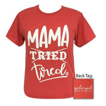 Girlie Girl Originals Mama Tired Fiery Heather Red Tee