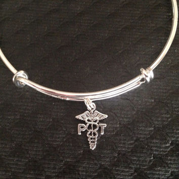 Physical Therapist Charm on a Silver Plated Bangle / Alex and Ani Inspired / Gift / Appreciation Gift / Collectable Sturdy / PT Charm
