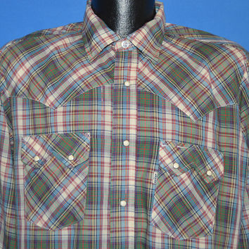 80s Levis Green Metallic Plaid Western Pearl Snap Shirt Large