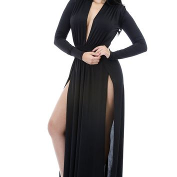 Chicloth Black Super Classy Long Sleeves Double Slit Long Maxi Dress