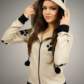 40f3788c98e5 Cat hoodie Ears kitty paws kawaii beige from PaperCatsPL on Etsy