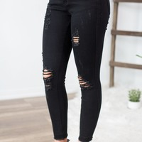 Judy Blue Black Distressed Skinny Jeans