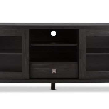 Baxton Studio Walda 60-Inch Dark Brown Wood TV Cabinet with 2 Sliding Doors and 1 Drawer  Set of 1