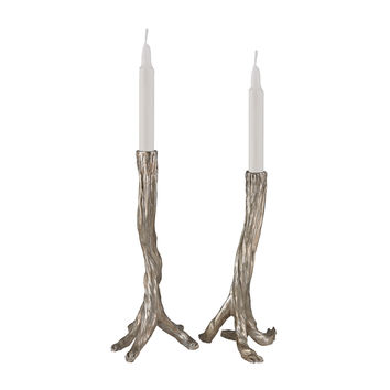 Silver Leafed Branch Candle Holders Silver Leaf