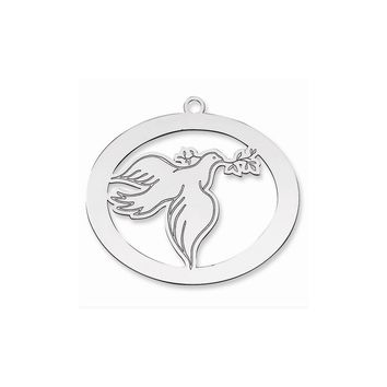 Sterling Silver Blank Christmas Dove Ornament