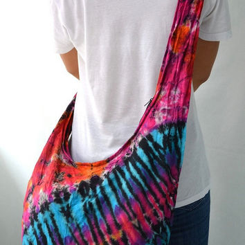 Tie Dyed Hippie Hobo Boho Cross Body Bag Messenger Purse S102028