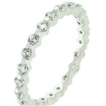 Kessie Eternity Stackable Ring | 2ct | Cubic Zirconia | Sterling Silver