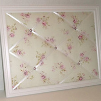 Shabby Chic Pink Rose on Mint Green fabric ~ White Wood Frame Memo Board by ToileChicBoutique