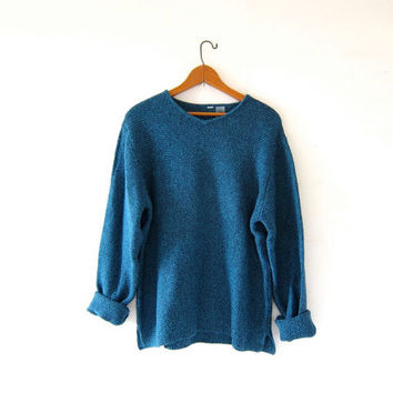 Vintage loose knit sweater. Speckled blue sweater. Textured cotton pullover. Basic sweater.