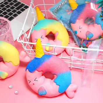 Jumbo Unicorn Donut Squishy Cute Whale Squishies Slow Rising Cream Scented Original Package Kids Toys Doll Stress Relief Toy