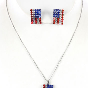 AMERICAN FLAG CRYSTAL STONE NECKLACE AND EARRING SET