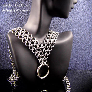 Stainless Steel Formal Slave Collar - Japanese Lace with O Ring