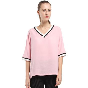 BIBOYAMALL Women Blouse Fashion Solid V Neck Blouses Women's Summer Casual Chiffon Shirt Top Blusas Plus Size 4XL 5XL Pink/White