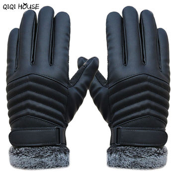 winter gloves men leather Gloves driving  screen thicken gloves antifreeze fur warm gloves gants homme #035