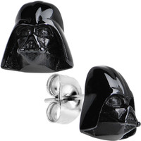 Officially Licensed Black IP Steel Star Wars Darth Vader Stud Earrings | Body Candy Body Jewelry