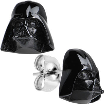 Officially Licensed Black IP Steel Star Wars Darth Vader Stud Earrings   Body Candy Body Jewelry