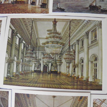 Set of 16 Rare Vintage Soviet Cards, Russian and Soviet Art, Russian Paintings, State Hermitage Museum and Winter Palace