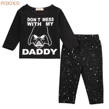 NEWBABY 2017 Newest Hot Star Wars Newborn 6 12 18 24 Months Tops+Long Pants Set Baby Boy Clothes Autumn Winter Outfit Kid Set