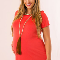 WEB EXCLUSIVE: Basic Maternity Top in Coral