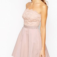Lipsy Bandeau Prom Dress With Lace Embellished Top