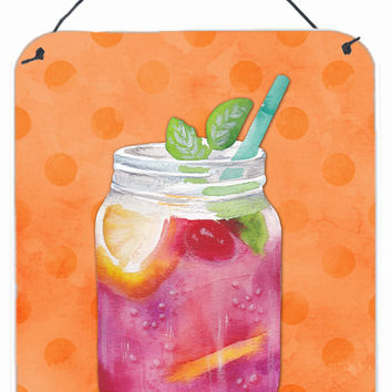 Mason Jar Cocktail Orange Polkadot Wall or Door Hanging Prints BB8253DS1216