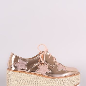 Glitter Stars Lace Up Espadrille Oxford Flatform Wedge