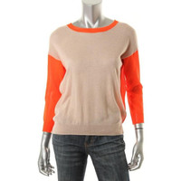 Rebecca Taylor Womens Wool Colorblock Pullover Sweater