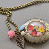 Brass Locket Necklace, Floral Bouquet, Photo Locket, Antique Brass Charm Necklace, Victorian Style, Mother's Day Gift