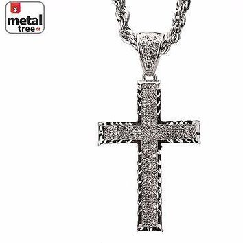 "Jewelry Kay style Men's Rhodium Plated Iced Out Cross CZ Pendant 30"" Rope Chain Necklace HC 5005 S"