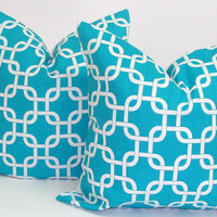 PILLOW SALE.Turquoise Pillow Set of Two18x18 inch Decorator Pillow Cover.Printed Fabric Front and Back