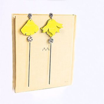Floral earrings long dangle earrings Yellow wooden large statement chain earrings Laser cut wood handpainted jewelry