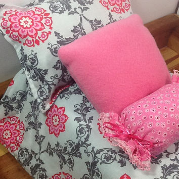 Doll Bedding with pink flowers and grey swirls, grey dots, 2 pillows and bolster for 18 inch doll, 4 piece set, pink and grey