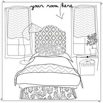 Wall Decal Headboard - Ikat - Gray - Twin - Lite version  - A Great Dorm Room idea !