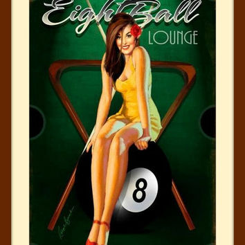 Pin Up Art, Pin Up Girl, Sexy Art, Pool Signs, Pool Decor, Billiards Sign, Billiard Room Decor, Billiards Decor, Metal Wall Art, Man Cave