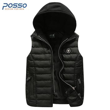 Sleeveless hoodie jacket black quilted jacket cotton mens vest jacket leisure outwear cotton waistcoat lightweight mens coat