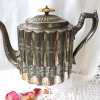 Antique Silver Plate Teapot / Britannia Metal Teapot / Antique Serveware / Victorian Tableware / Shabby Chic Tea Pot / Sheffield UK