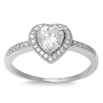 Traditional Vintage Milgrain Halo Heart Shaped Cubic Zirconia Engagement Promise Ring