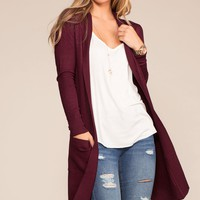 Kokette Long Cardigan - Burgundy