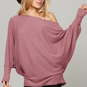 Loose Fit Waffle Knit Top - Dusty Pink