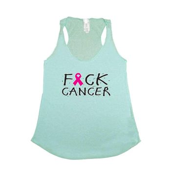 Women's F Cancer Breast Cancer Awareness Tri Blend Tank TURQUOISE